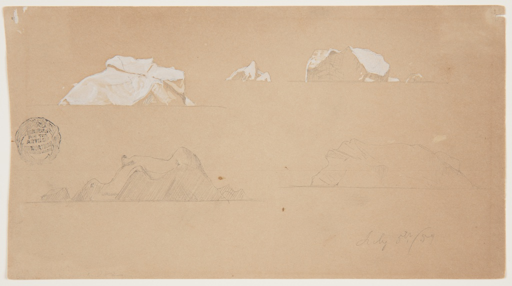 Drawing, Floating Icebergs, July 5, 1859 graphite, brush and white gouache on light brown paper.