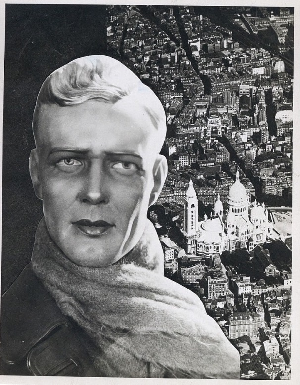 Paris, France. Headshot of Charles Lindberg in wax by Siøgel in a scarf and leather jacket positioned atop an aerial view of Paris.