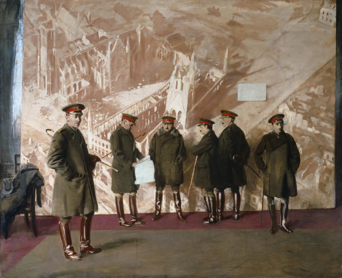 Canadian Headquarters Staff, 1918 Canadian War Museum, Beaverbrook Collection of War Art William Nicholson - http://www.civilization.ca/cwm/exhibitions/guerre/photos/2800/19710261-0537.jpg This painting by British artist Sir William Nicholson depicts five Canadian generals and one major of the First World War standing unposed in front of a mural of the bombed Ypres Cathedral and Cloth Hall. This unfinished painting originally commissioned by Lord Beaverbrook was quickly forgotten, only to be rediscovered in the vaults of the Canadian War Museum and later hailed as Nicholson's finest work.