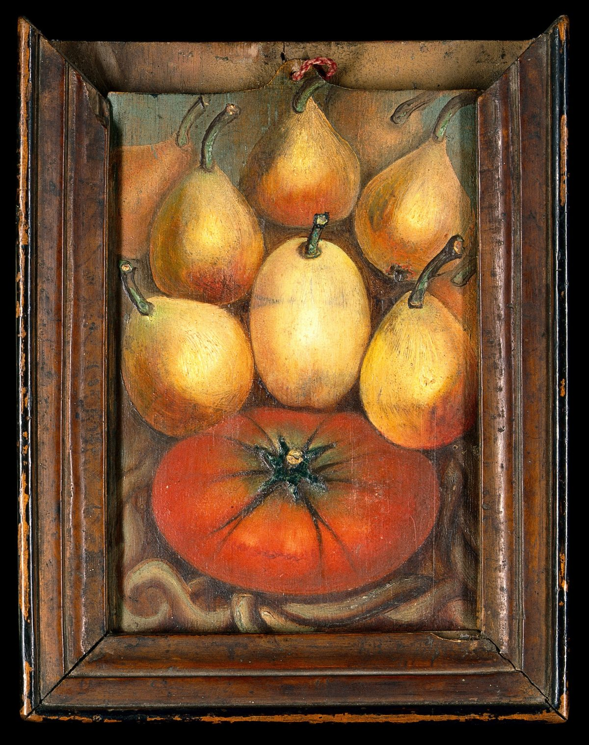 Figs and a tomato. Oil painting by Summonte