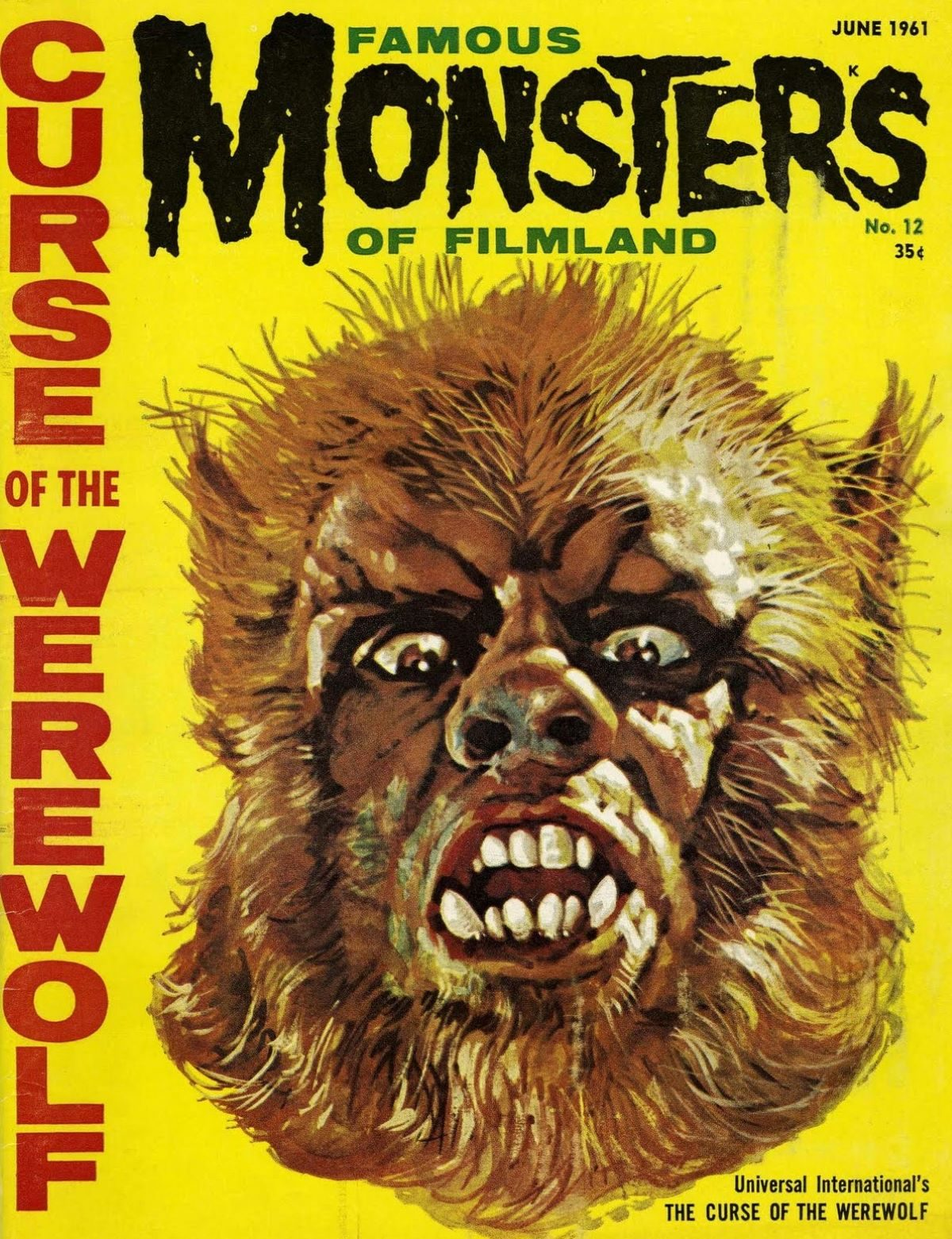 Famous Monsters of Filmland, magazine, horror films, Oliver Reed, Curse of the Werewolf, 1960s