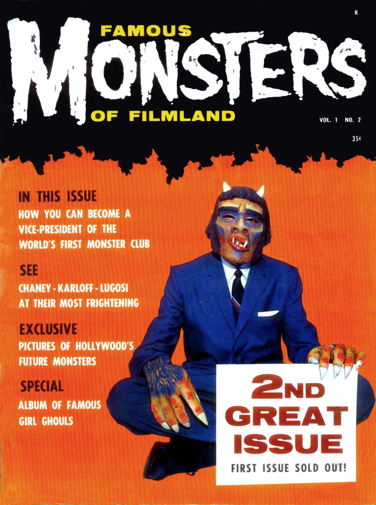 Famous Monsters of Filmland, magazine, horror films, second issue