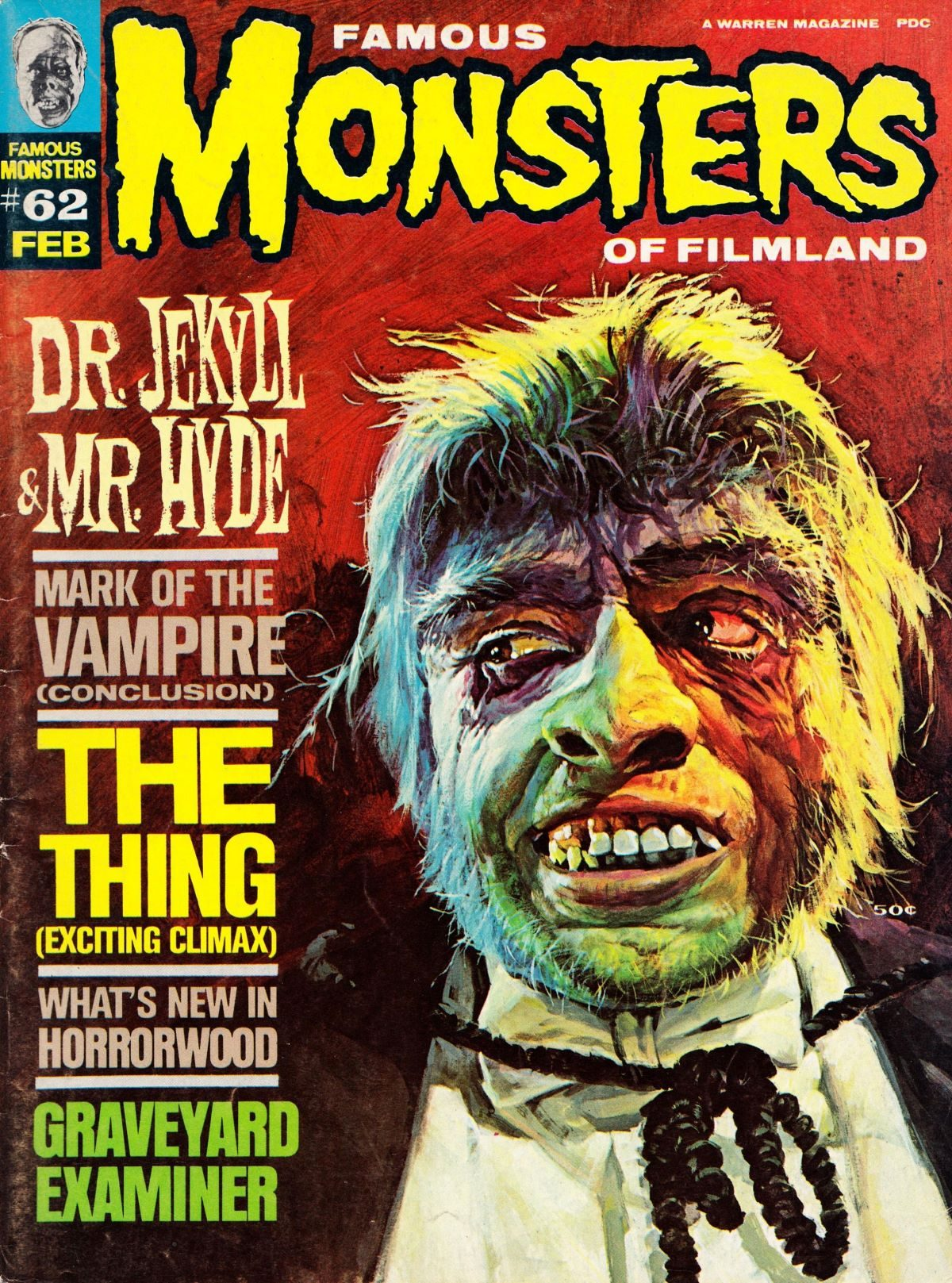 Famous Monsters of Filmland, magazine, horror films, Frederic March, Mr Hyde, 1960s