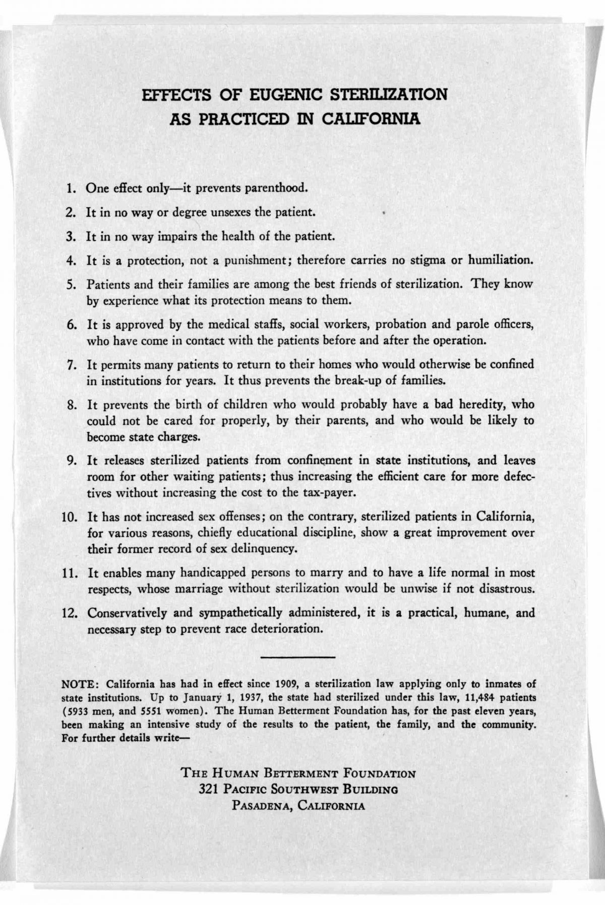 Effects of eugenic sterilization as practiced in California ... The Human betterment foundation, Pasadena, California. [1937?].