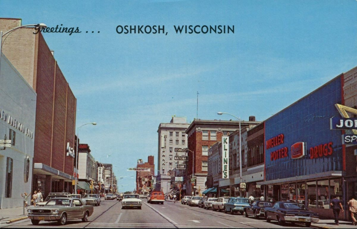 Oshkosh, Wisconsin, USA, postcards, vintage, streets, city