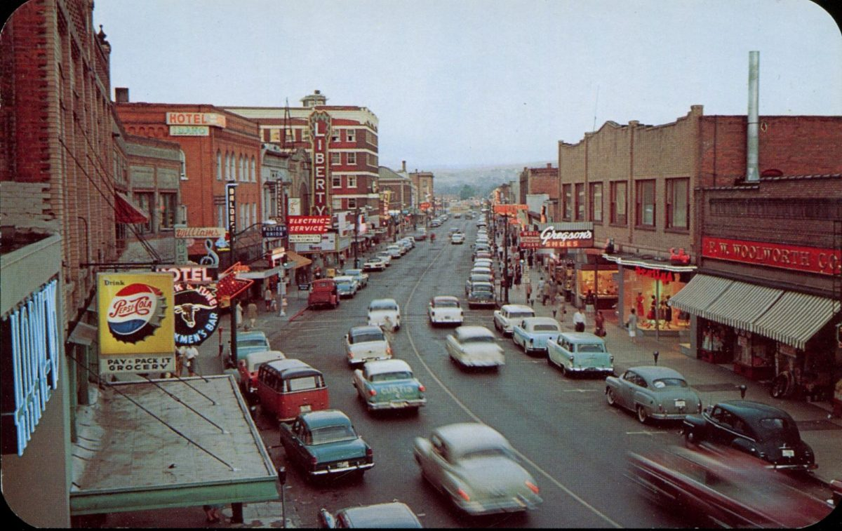Lewiston, Idaho, USA, postcards, vintage, cars, streets