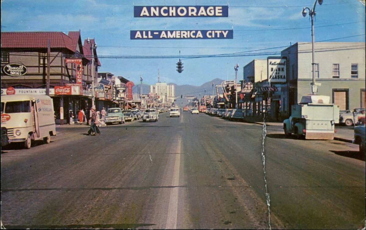 Anchorage, Alaska, USA, postcards, vintage, city, cars, streets