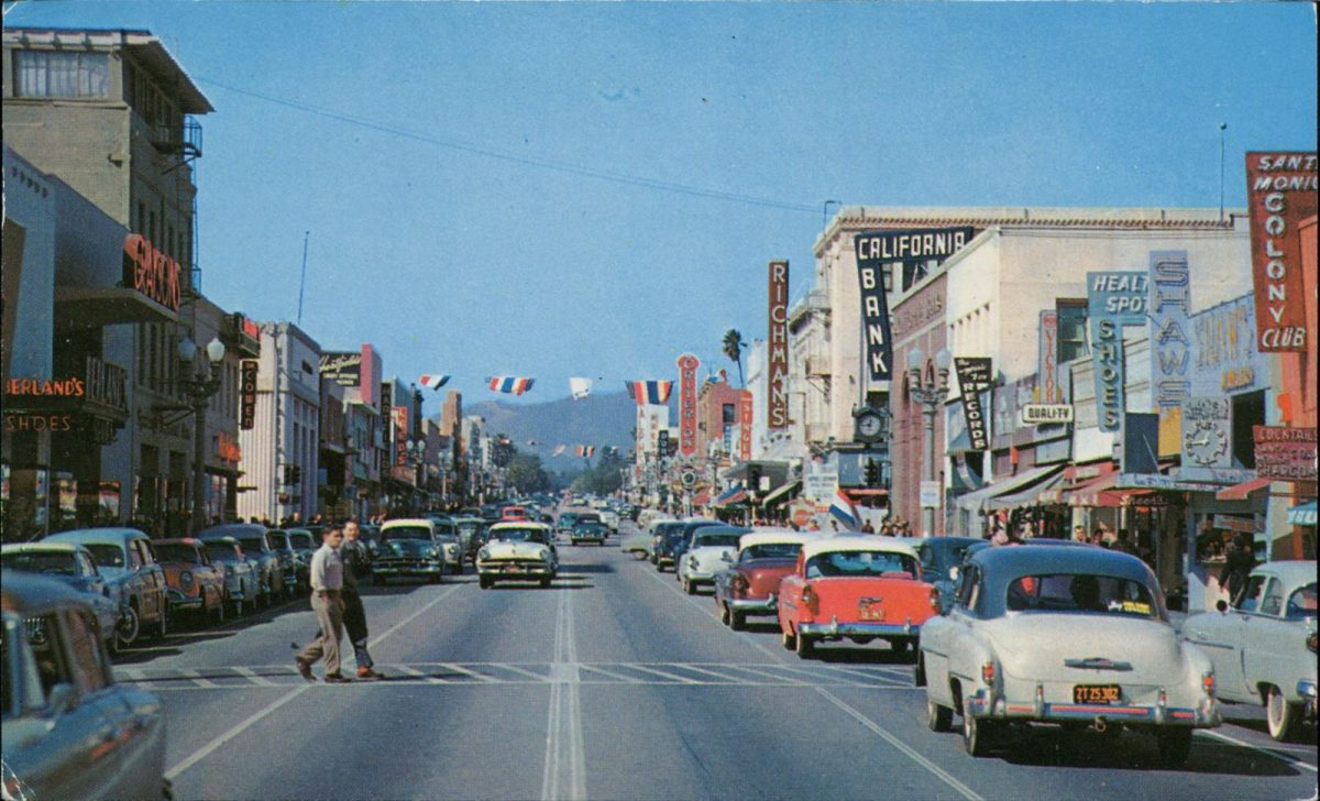 Santa Monica, California, USA, postcards, vintage, cars, streets