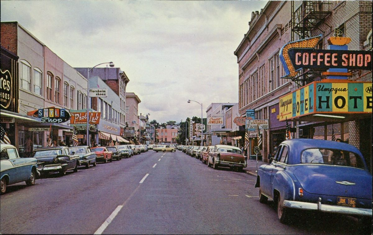Roseburg, Oregon, USA, postcards, vintage, cars, streets