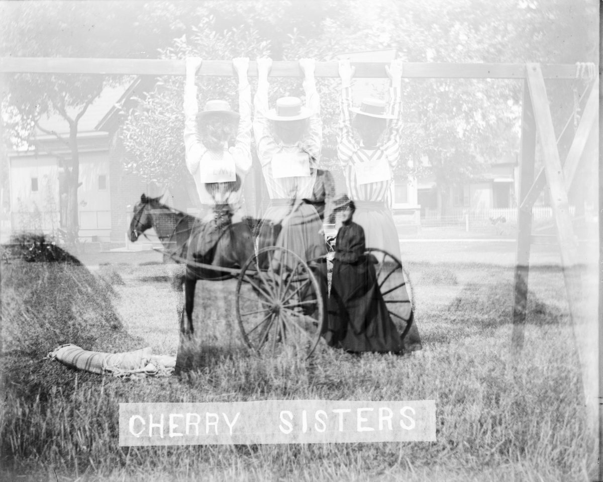 Cherry Sisters, Horse-drawn vehicle in hay fieldGeorge Silas Duntley Photographs 1899-1918