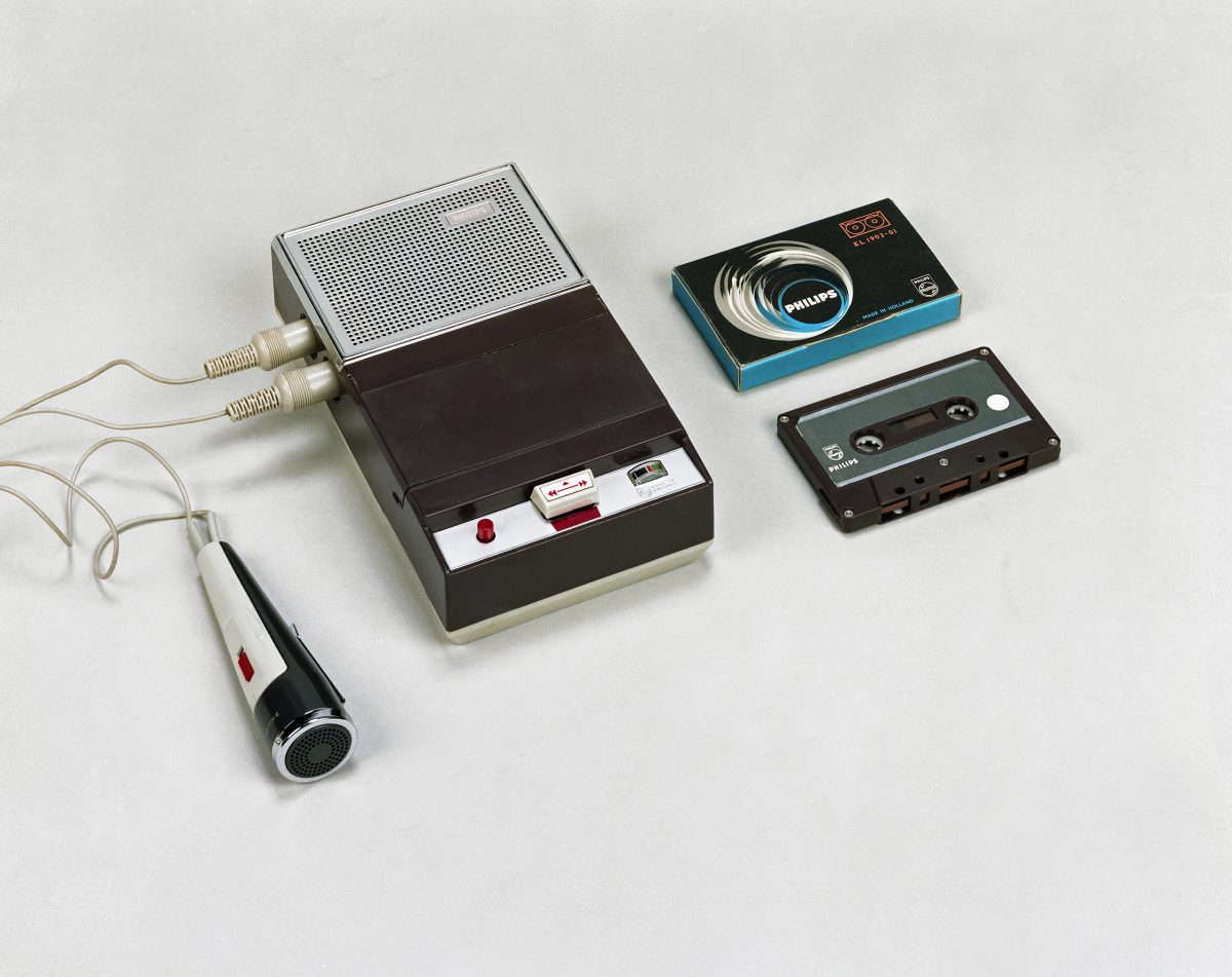 In August 1963, Philips introduced its first compact cassette recorder at the Funkausstellung (Radio Exhibition) in Berlin, Germany. When using this photo, please add photo credit: Photo: Royal Philips