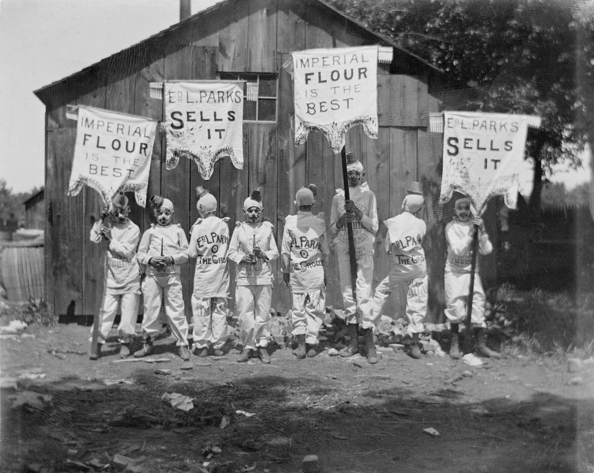 Group of kids with banners; Imperial Flour is the bestGeorge Silas Duntley Photographs 1899-1918
