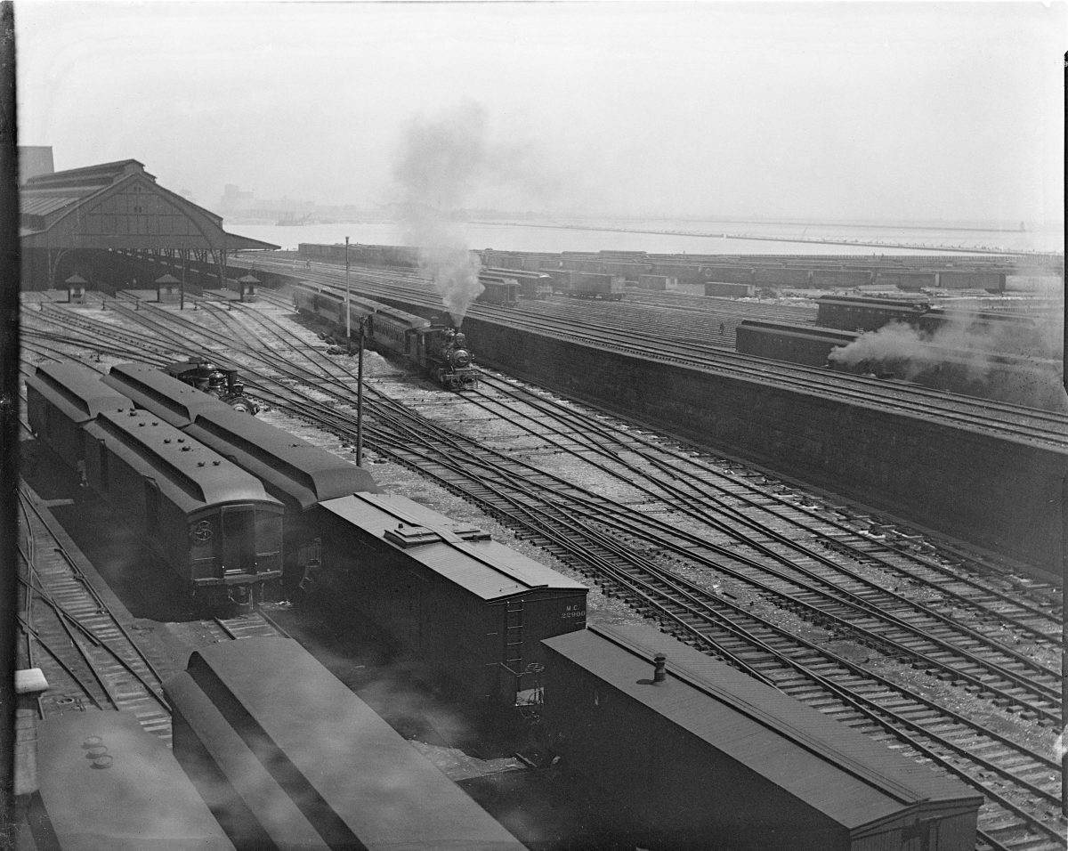 Illinois Central Railroad (IC) large rail yard and trestle running parallel to Lake MichiganGeorge Silas Duntley Photographs 1899-1918