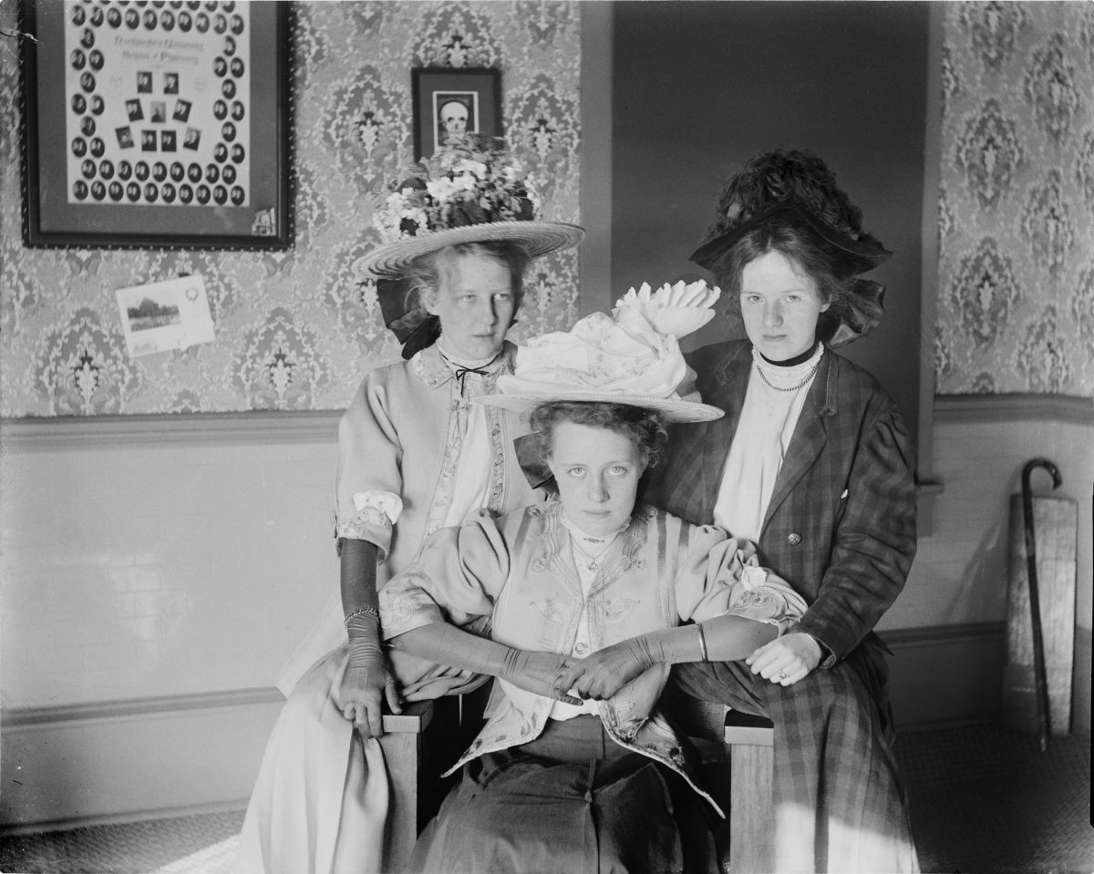 Three unidentified women wearing large hatsGeorge Silas Duntley Photographs 1899-1918