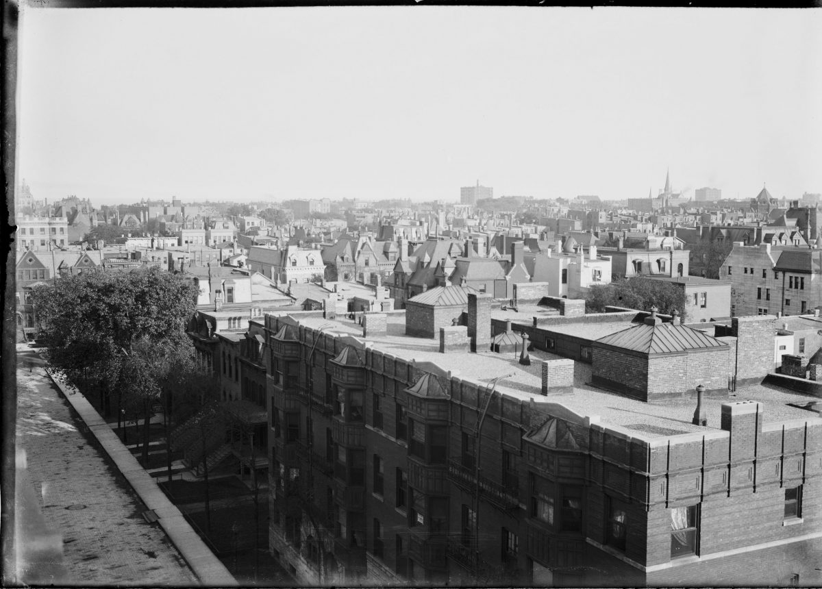 View from rooftop of buildings in Chicago - George Silas Duntley Photographs 1899-1918
