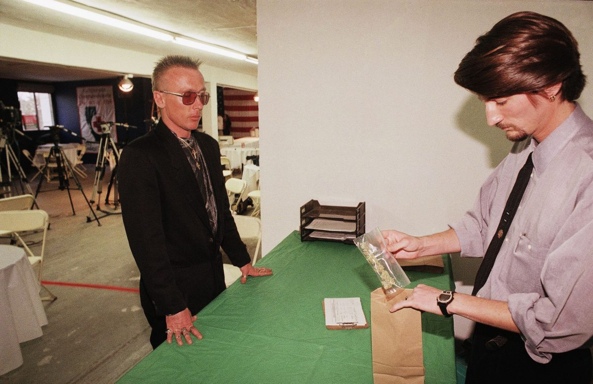 Patrick Lyman Patrick Lyman, left, who had full blown AIDS, gets his weekly allotment of medical marijuana from Sean Howell, a staff member of the Cannabis Buyers Club in the Hollywood section of Los Angeles, election eve on . One of the propositions voters in California will decide on is whether to legalize marijuana for medical purposes 5 Nov 1996