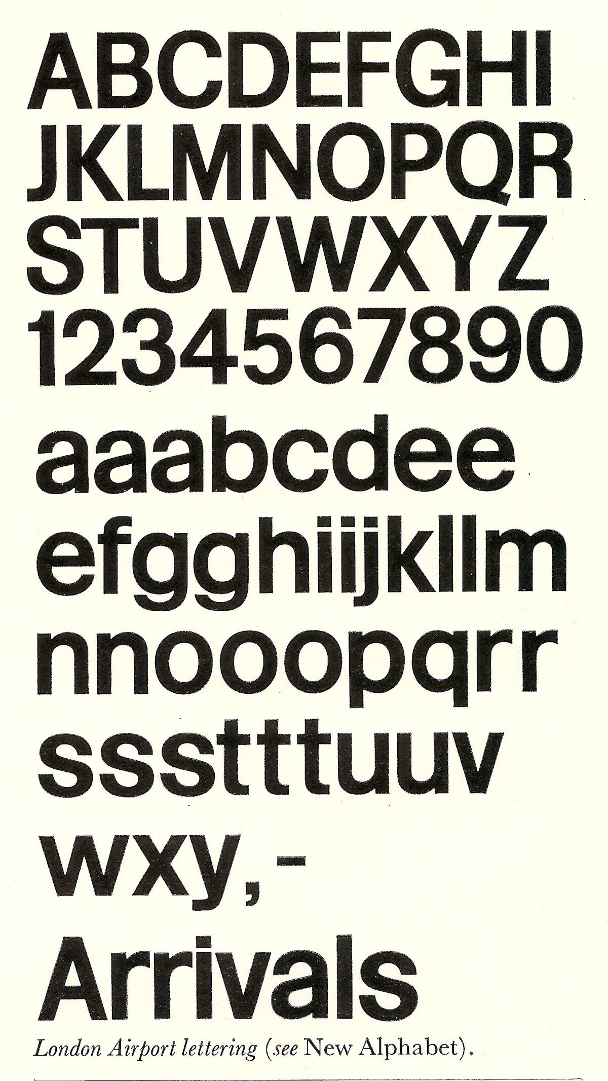 London Airport Lettering typeface by Matthew Carter/Frederick Gibberd, 1961