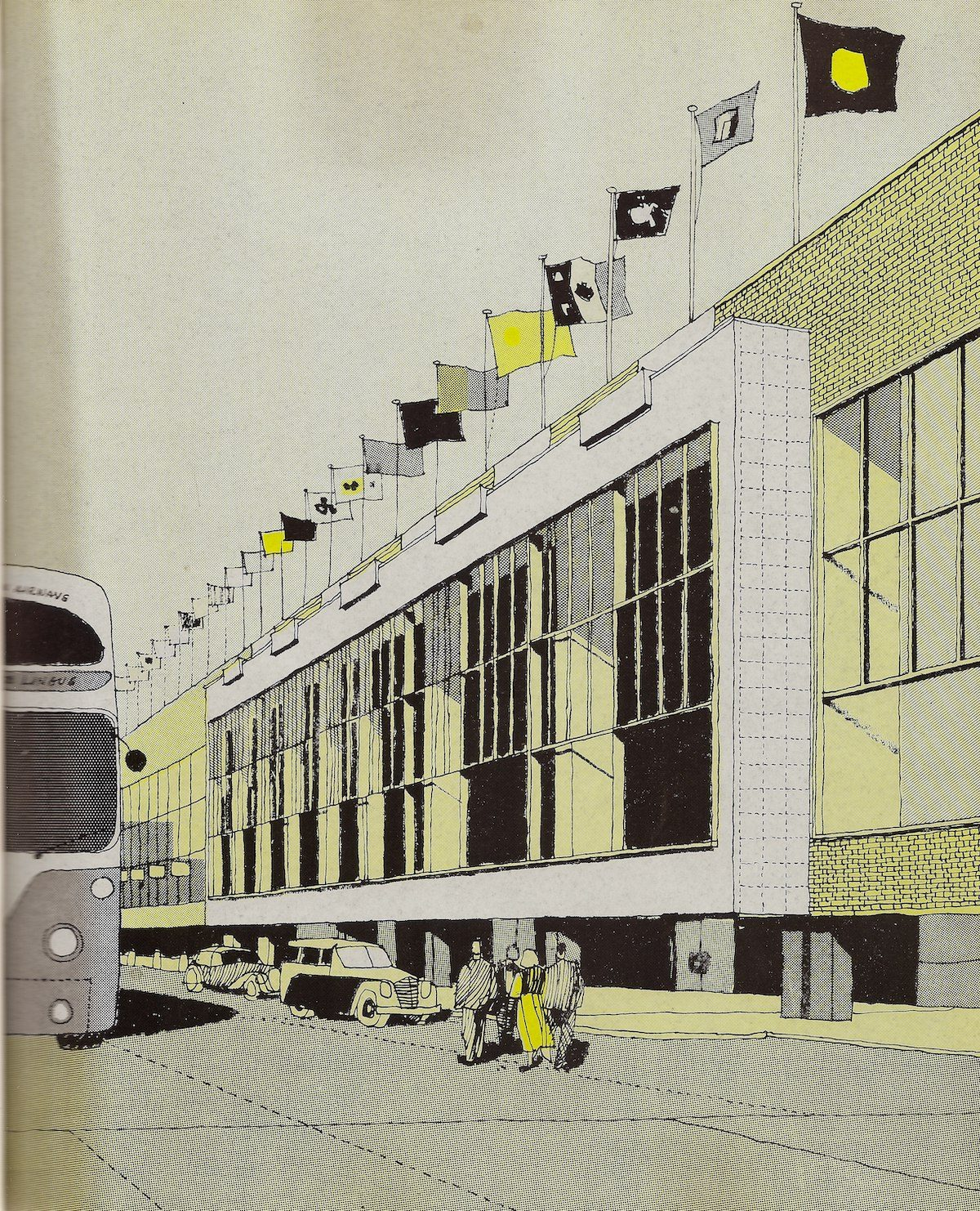 Passenger Terminal Building, London Heathrow Airport - illustration by Gordon Cullen - 1956 Another of Cullen's stylish sketches - seen here is the new Terminal Building that formed the heart of the 1954/56 reconstruction of Heathrow that was to form one of the world's great airports.