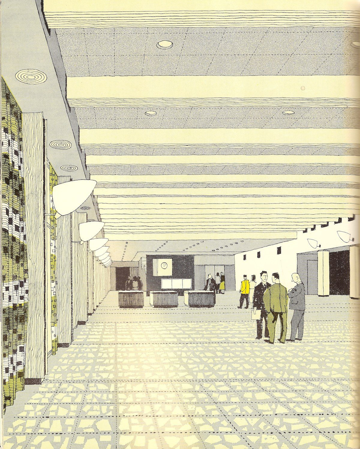 The Exhibition Hall, London Heathrow Airport - illustration by Gordon Cullen - 1956 Cullen produced many architectural drawings and sketches in the post-war period and this is typical of the style of his work. The interiors are very 'Brave New Elizabethan' in style, just after the Festival of Britain.