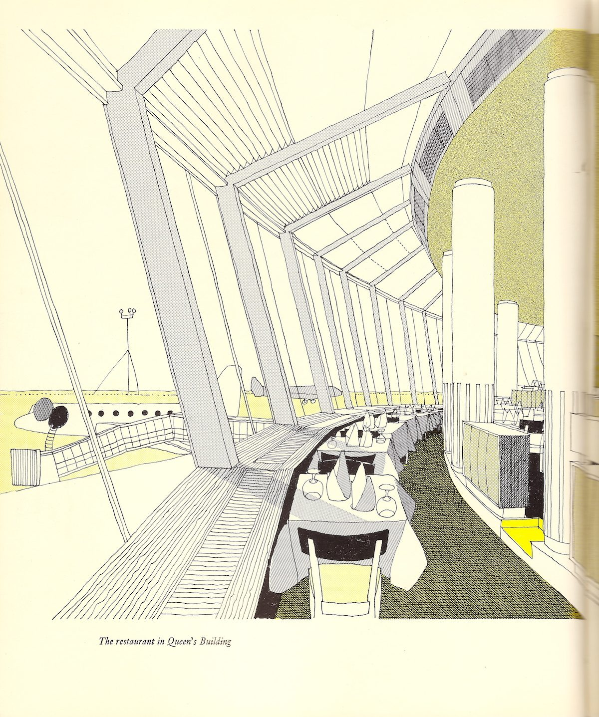 The Queen's Building restaurant at London Heathrow Airport - illustration by Gordon Cullen - 1956 The whole idea of the excitement and open-ness of modern airports in the 1950s is glimpsed in this illustration by Gordon Cullen.