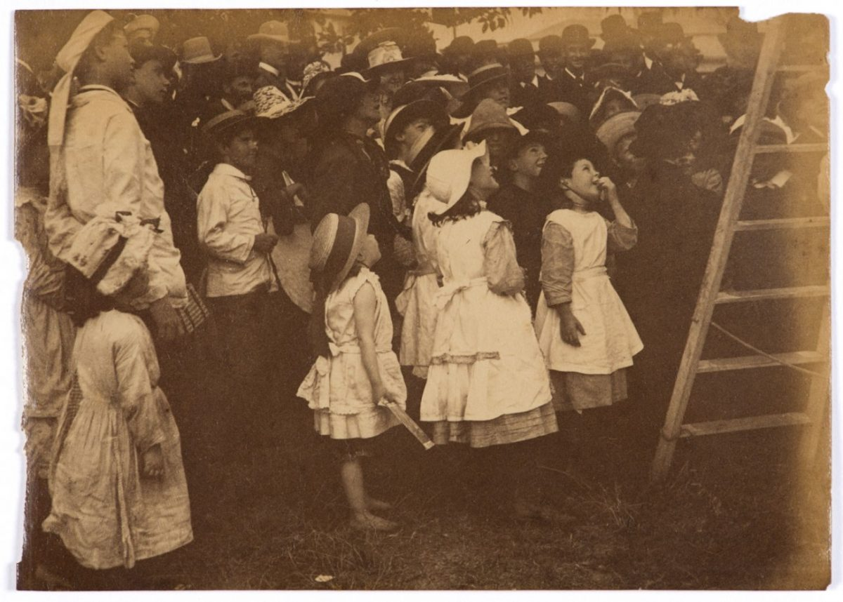 Arthur K. Syer (d. 1935) Children crowd around a ladder c. 1880s – 1900