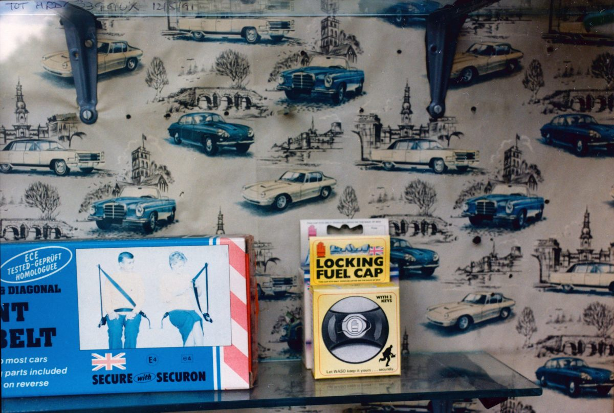 Cars, Shop window, High Rd, Bruce Grove, Haringey, 1991