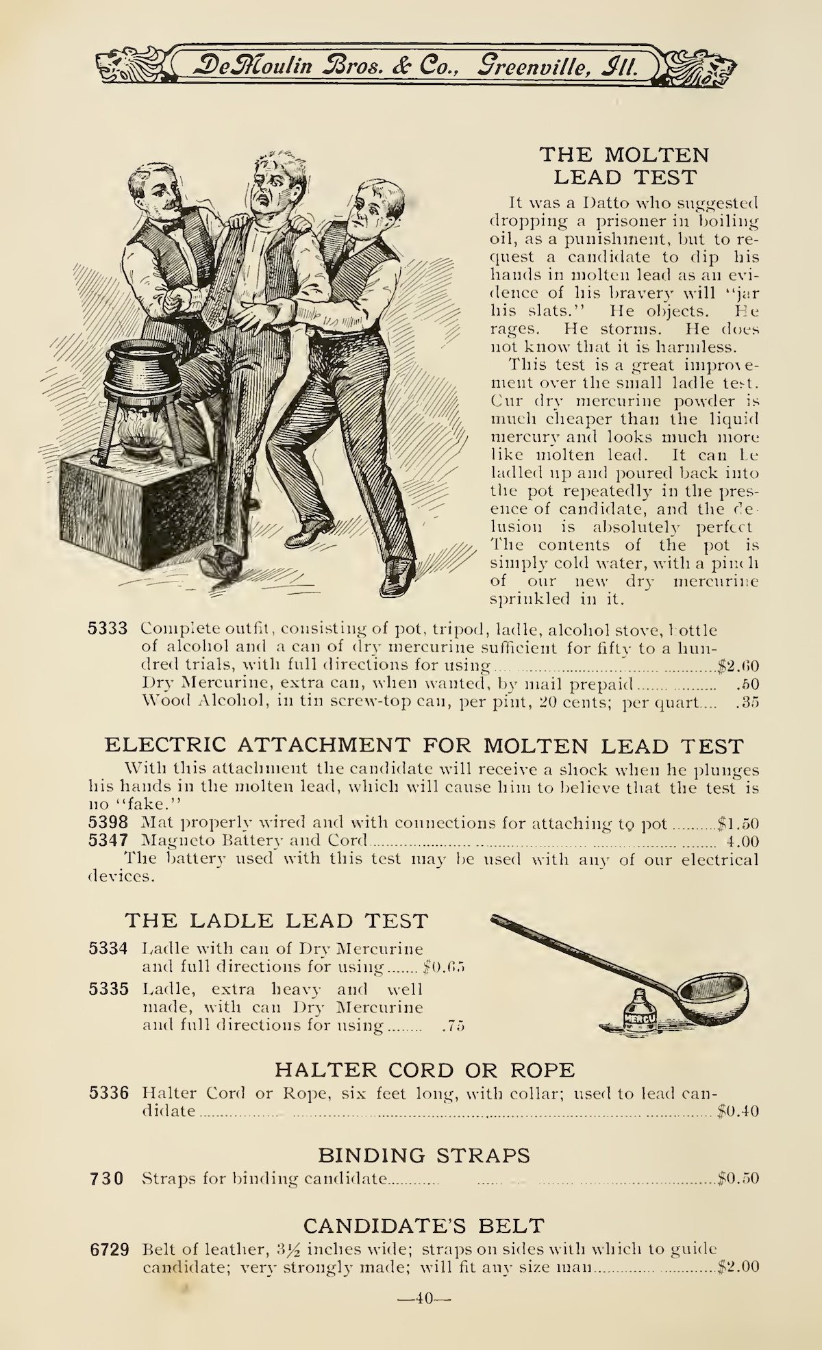 Demoulin brothers Hazing goods catalogue 1908