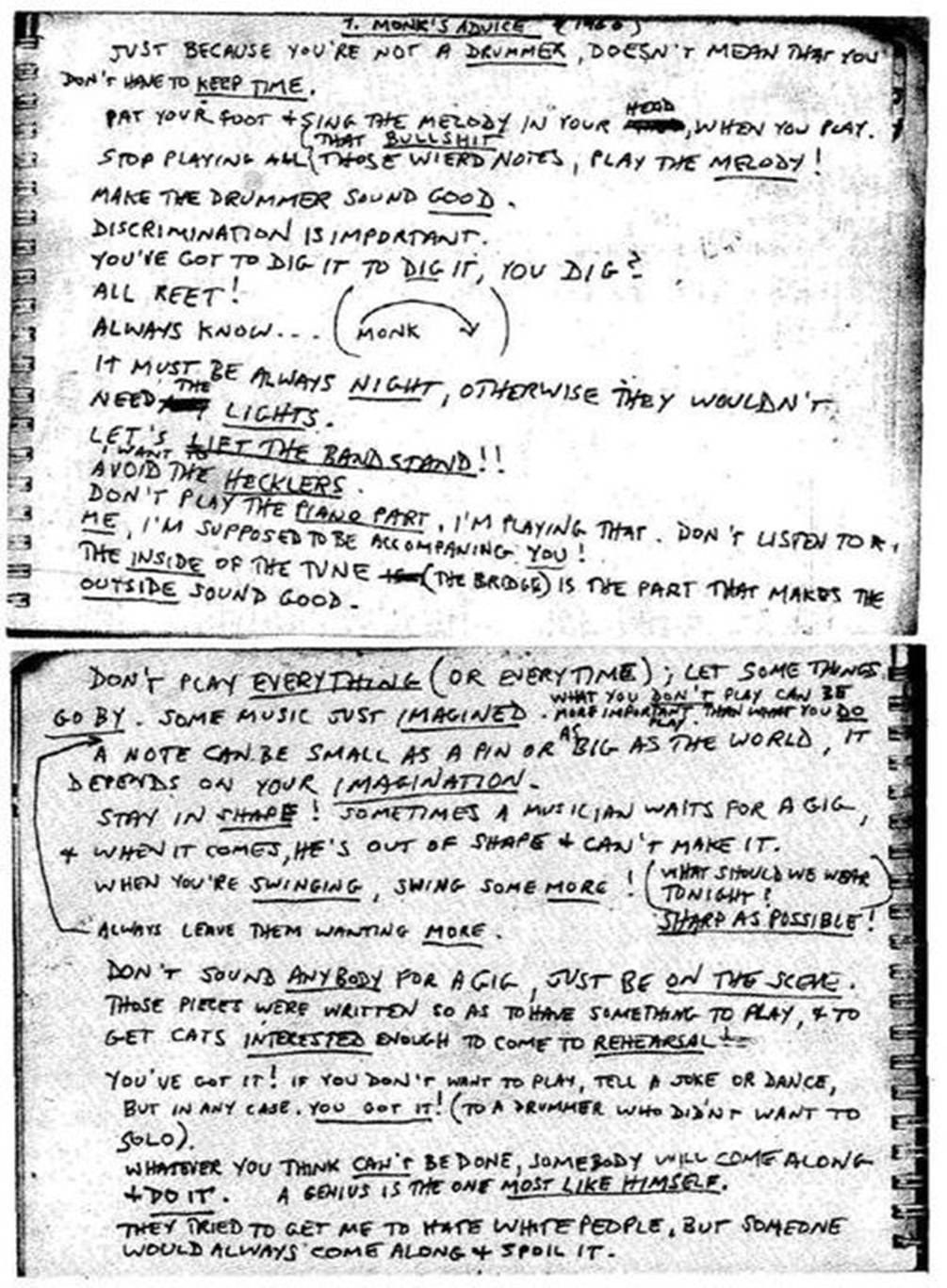 Thelonious Monk's 25 Tips for Musicians (1960