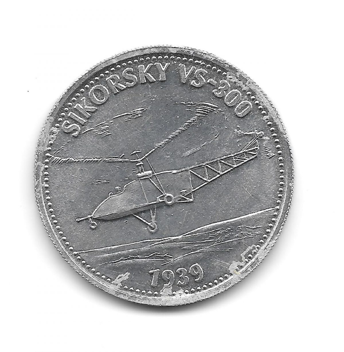 Shell, coins, Man in Flight, 1970s, Sikorsky