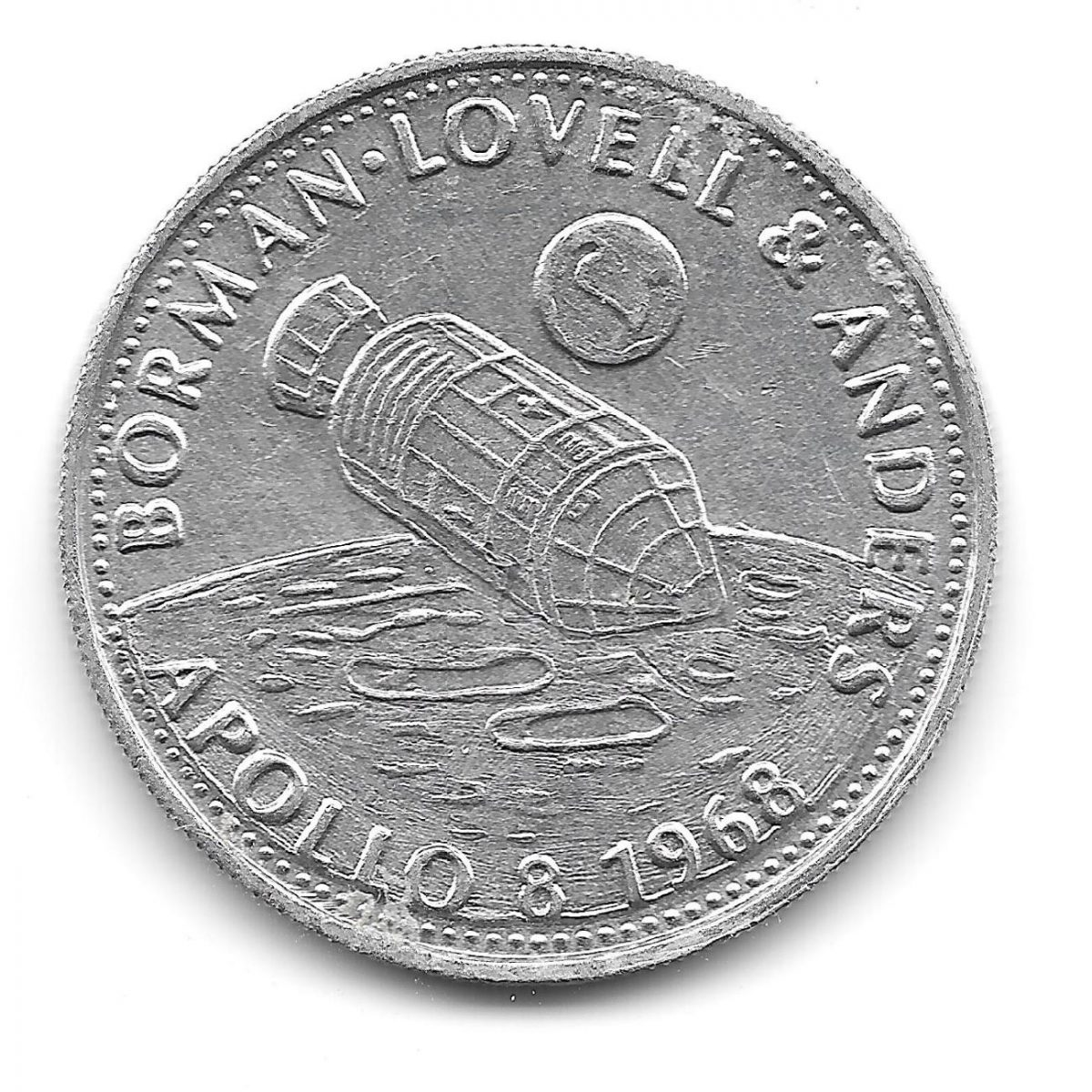 Shell, coins, Man in Flight, 1970s, Borman, Lovell and Anders, Apollo 8