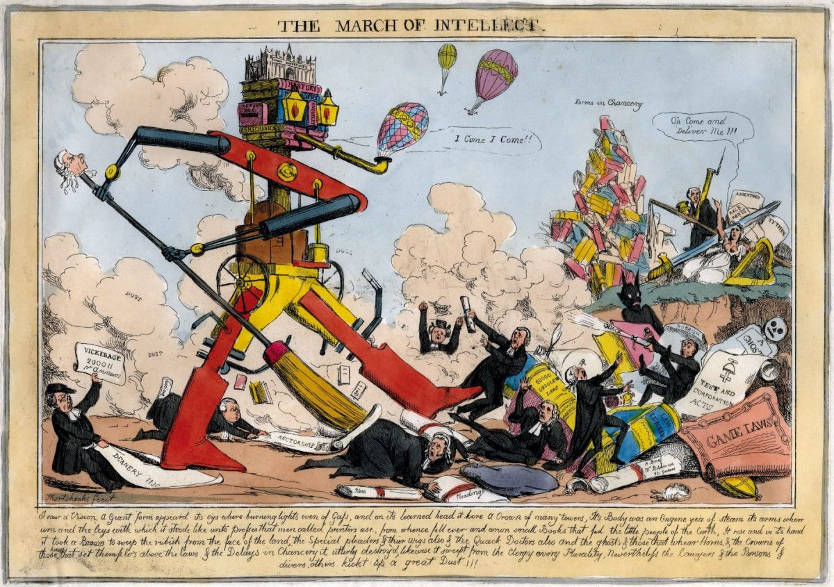 March of the Intellect, education, poster, 1800s The finding out treasury