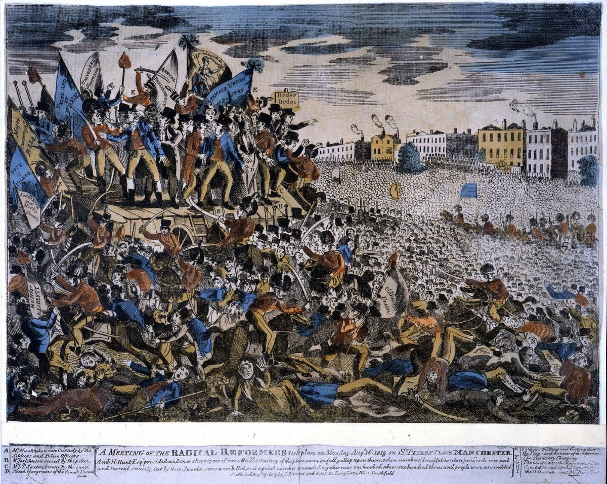 Peterloo Massacre, politics, working class, universal suffrage, Corn Laws, The finding out treasury