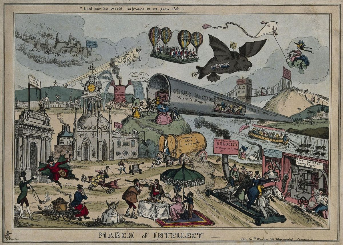 March of the Intellect, poster, education, 1800s The finding out treasury