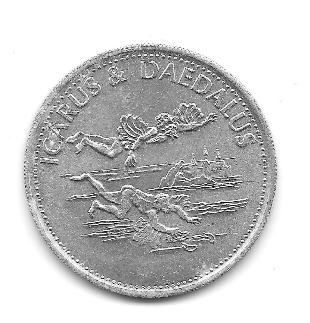 Shell, coins, Man in Flight, 1970s, Icarus and Daedalus