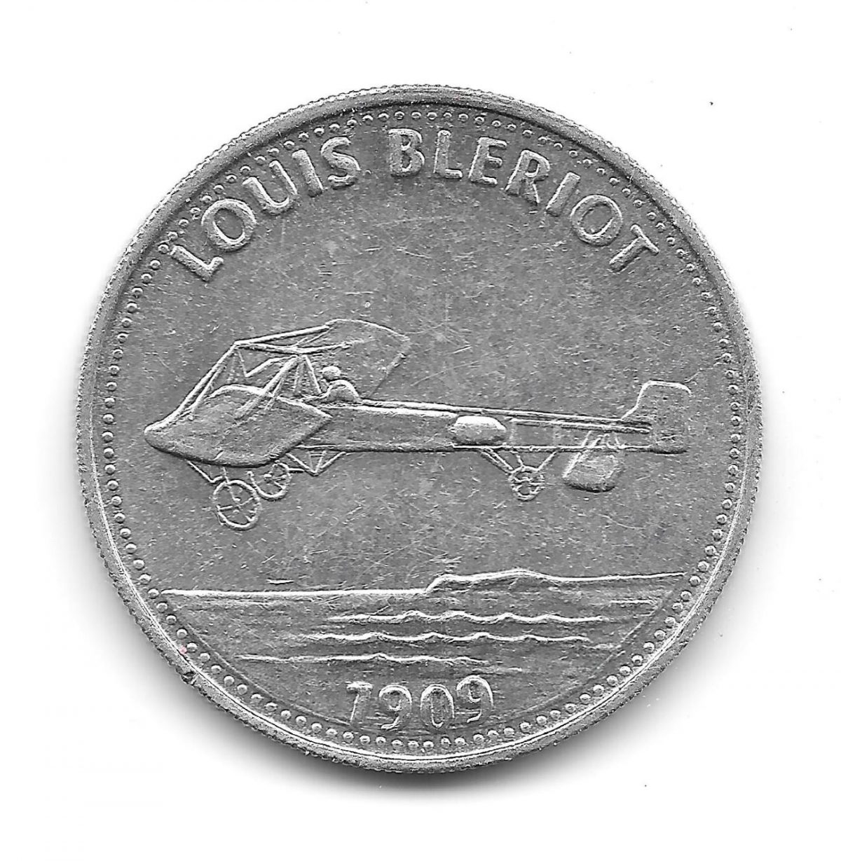 Shell, coins, Man in Flight, 1970s, Louis Blériot