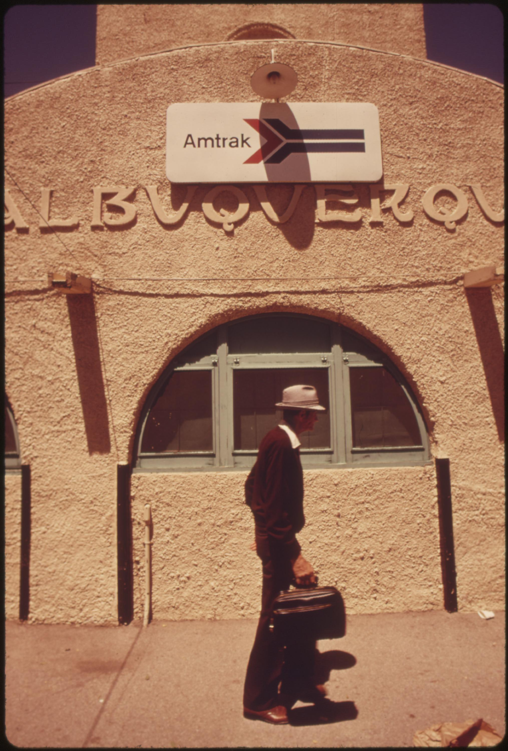 Albuquerque, New Mexico, train station is one of the stops the Southwest Limited makes on its run from Los Angeles, California to Chicago, June 1974