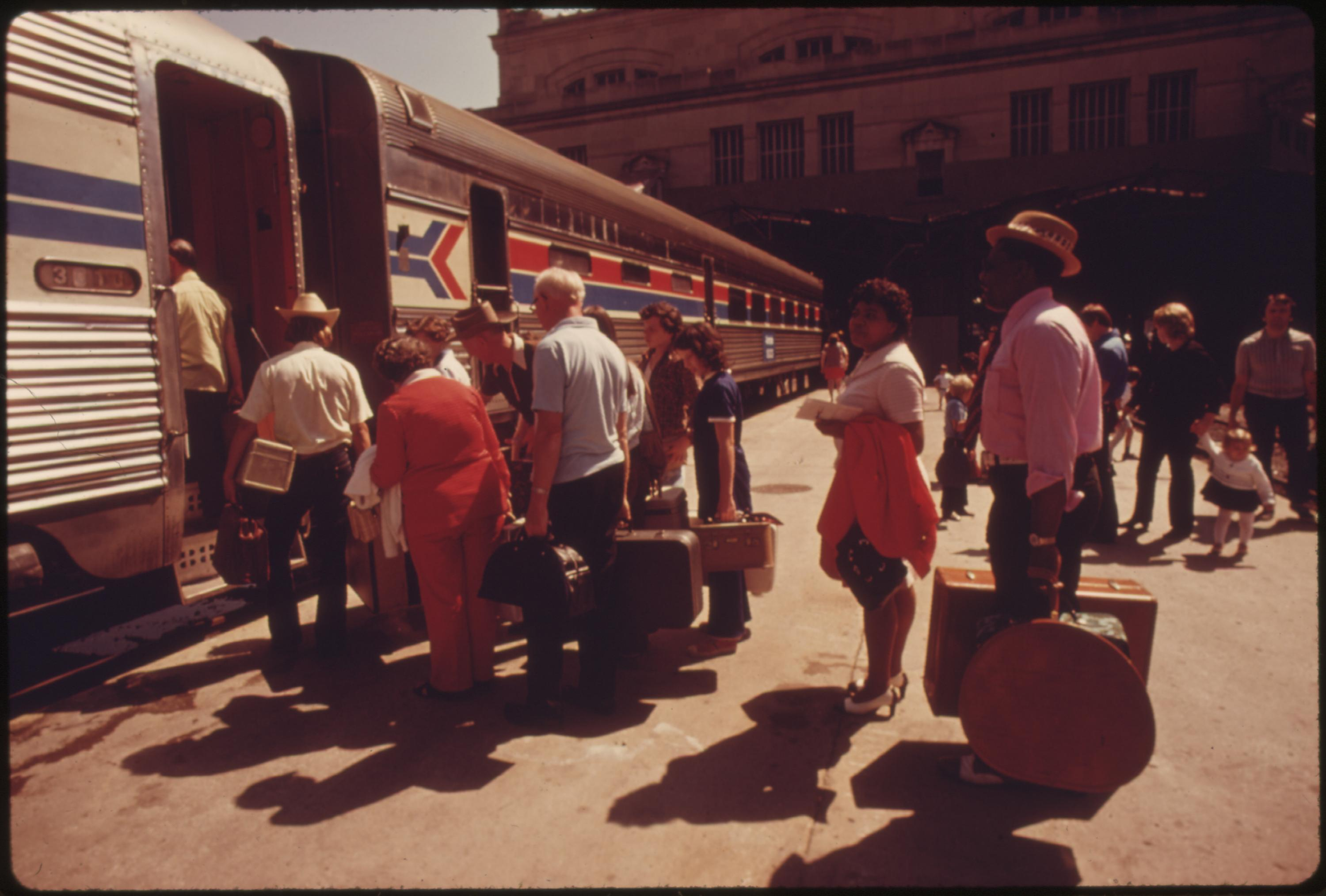 Amtrak train at Union Station in Kansas City, Missouri, being boarded by passengers bound for New York City, June 1974