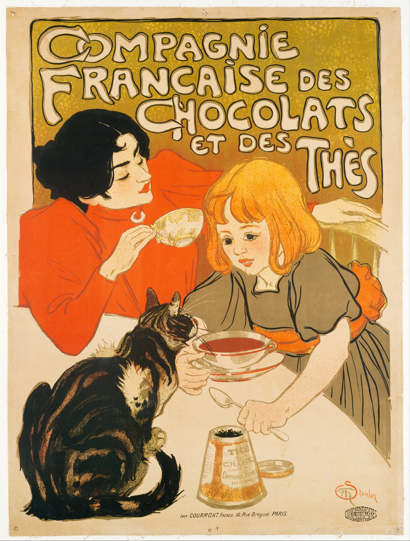 """In """"Compagnie Française des Chocolats et des Thès,"""" Steinlen includes his wife and daughter in the illustration."""
