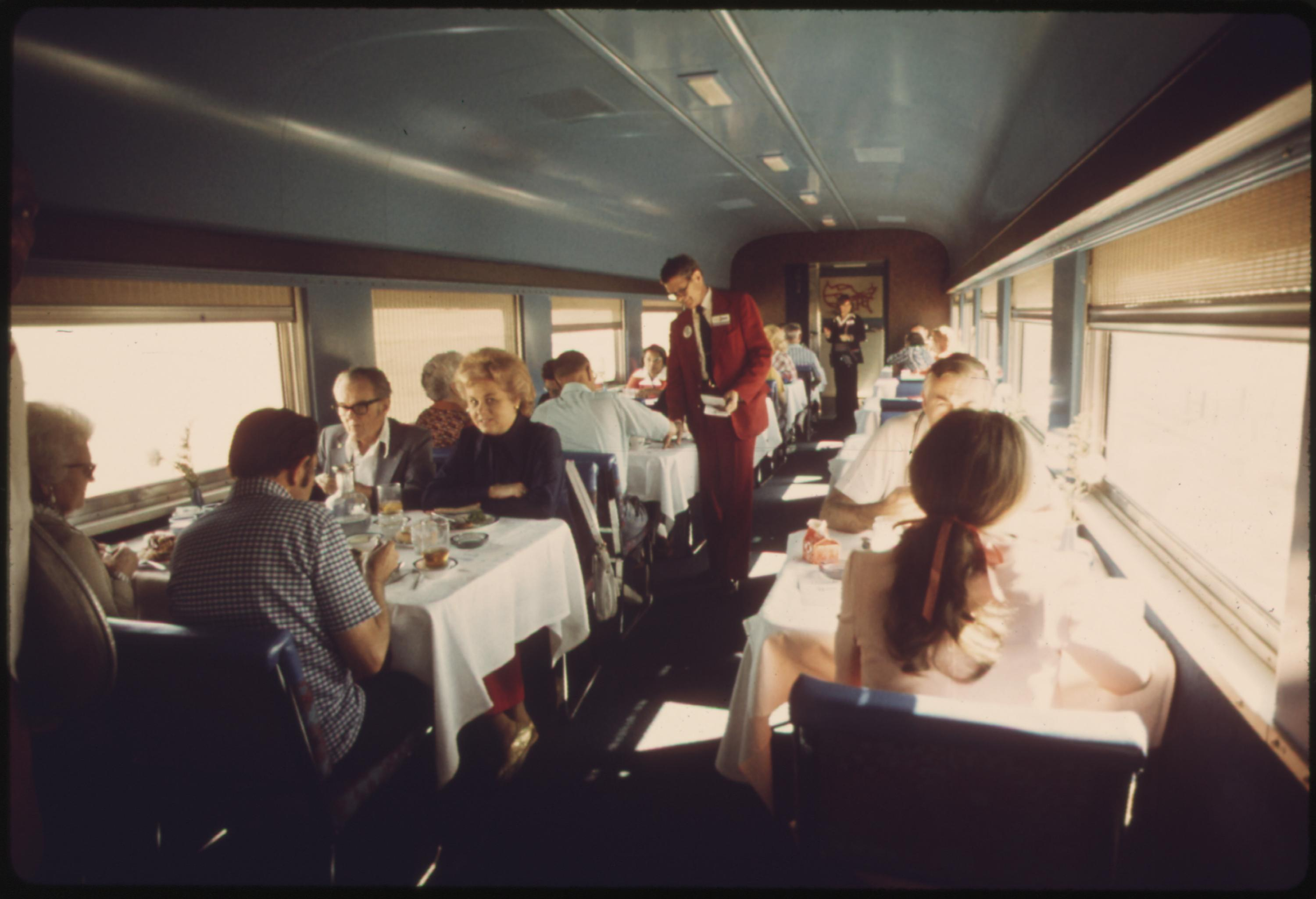 Dining car of the Southwest Limited is one of the highlights for passengers traveling between California and the midwest, June 1974