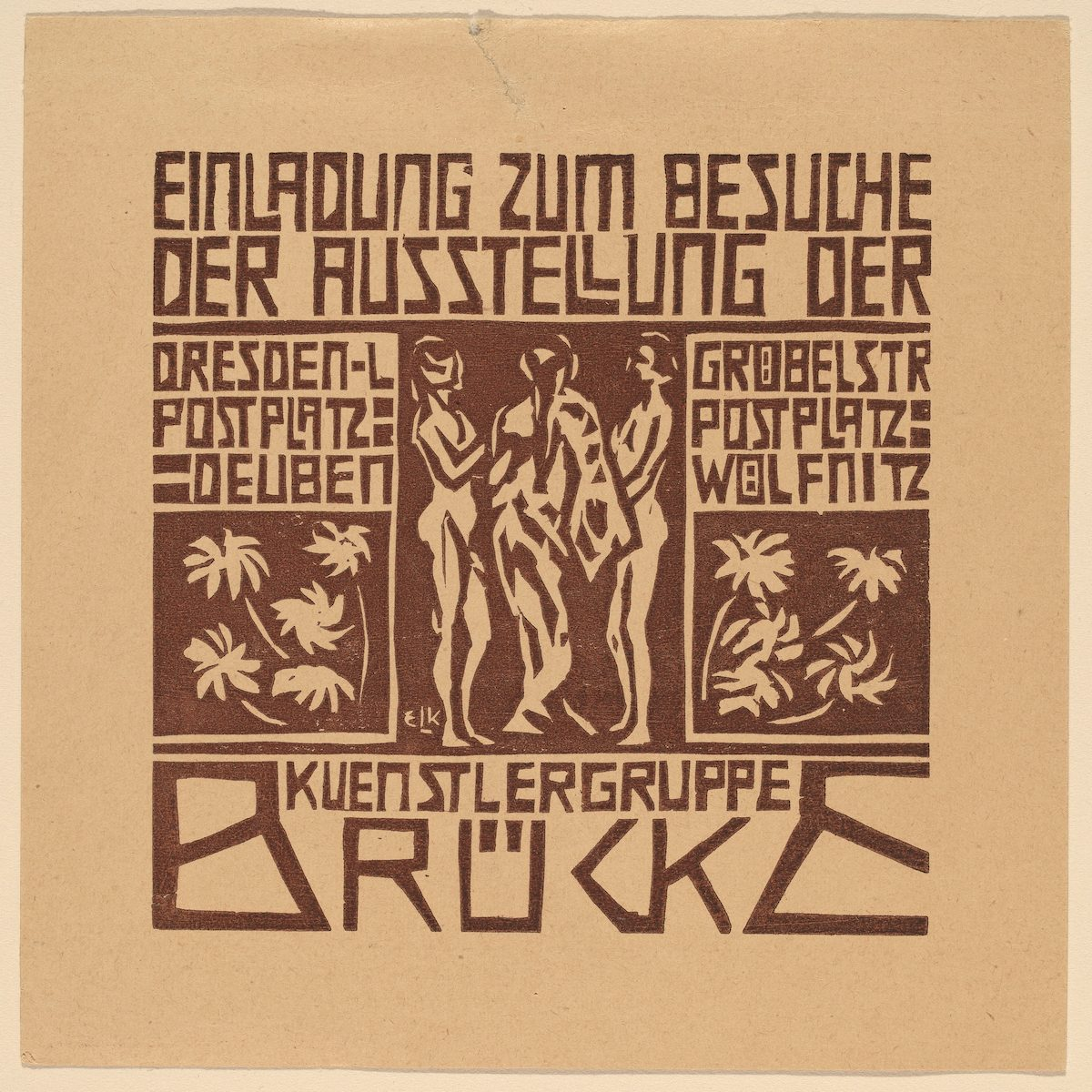 Invitation to an Exhibition of the Artists' Group Brücke by Ernst Ludwig Kirchner - 1906