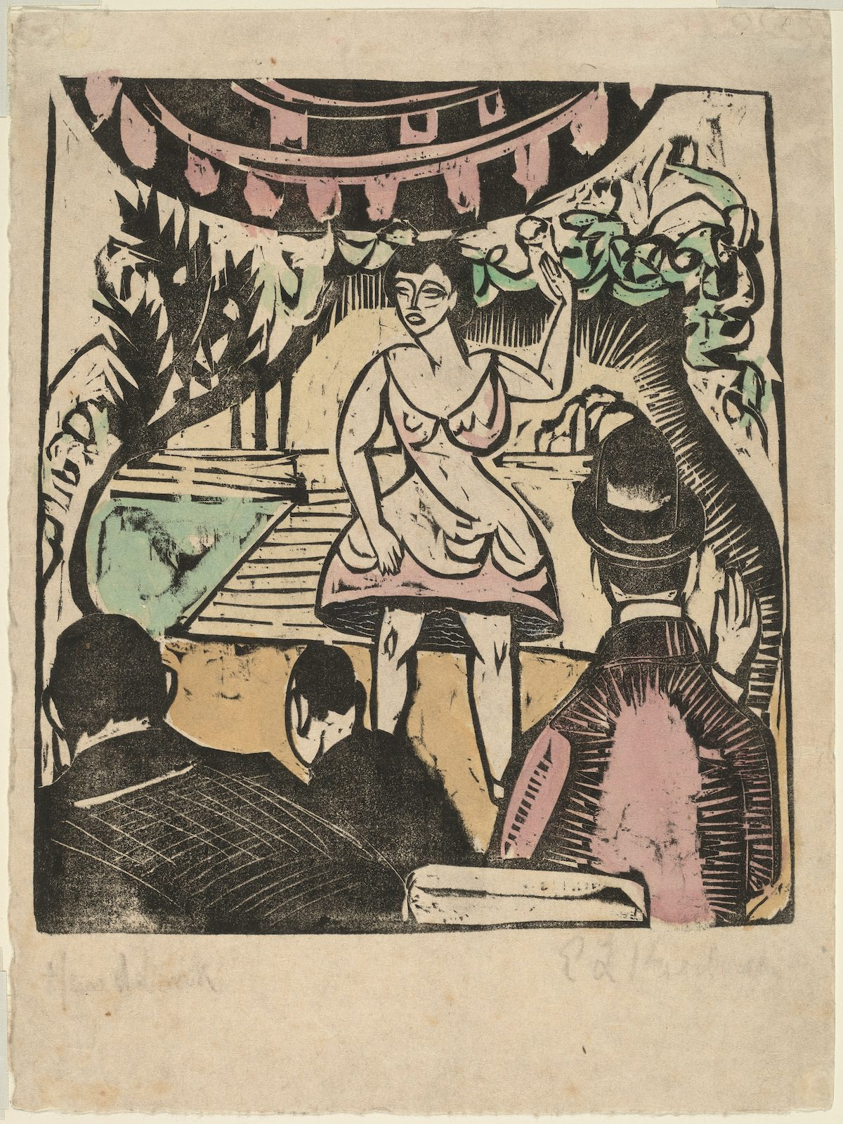 Little Variety Act with Singer by Ernst Ludwig Kirchner - c. 1909