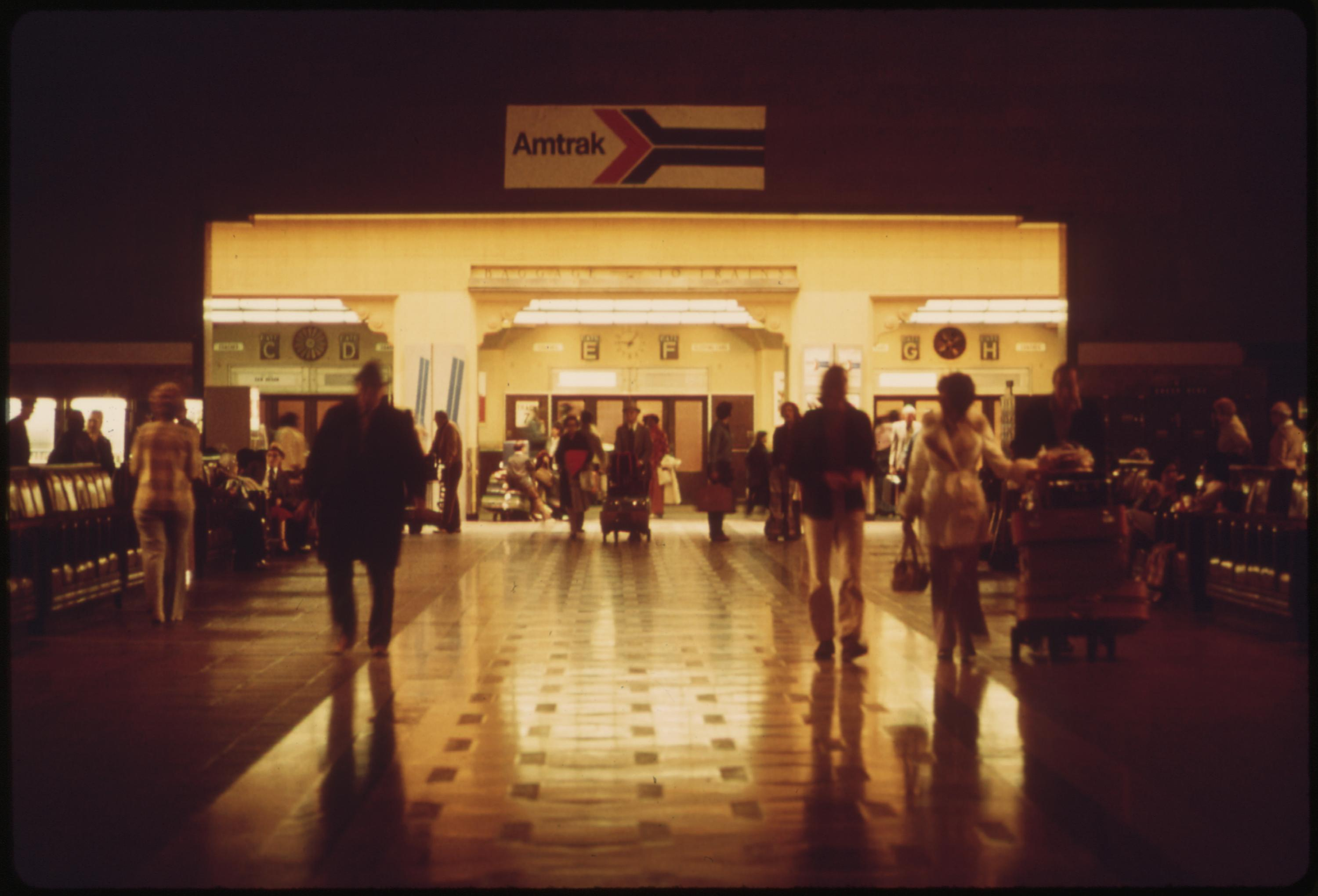 Interior of the Los Angeles Union Passenger Terminal built for the 1932 Summer Olympics held in that California city, May 1974