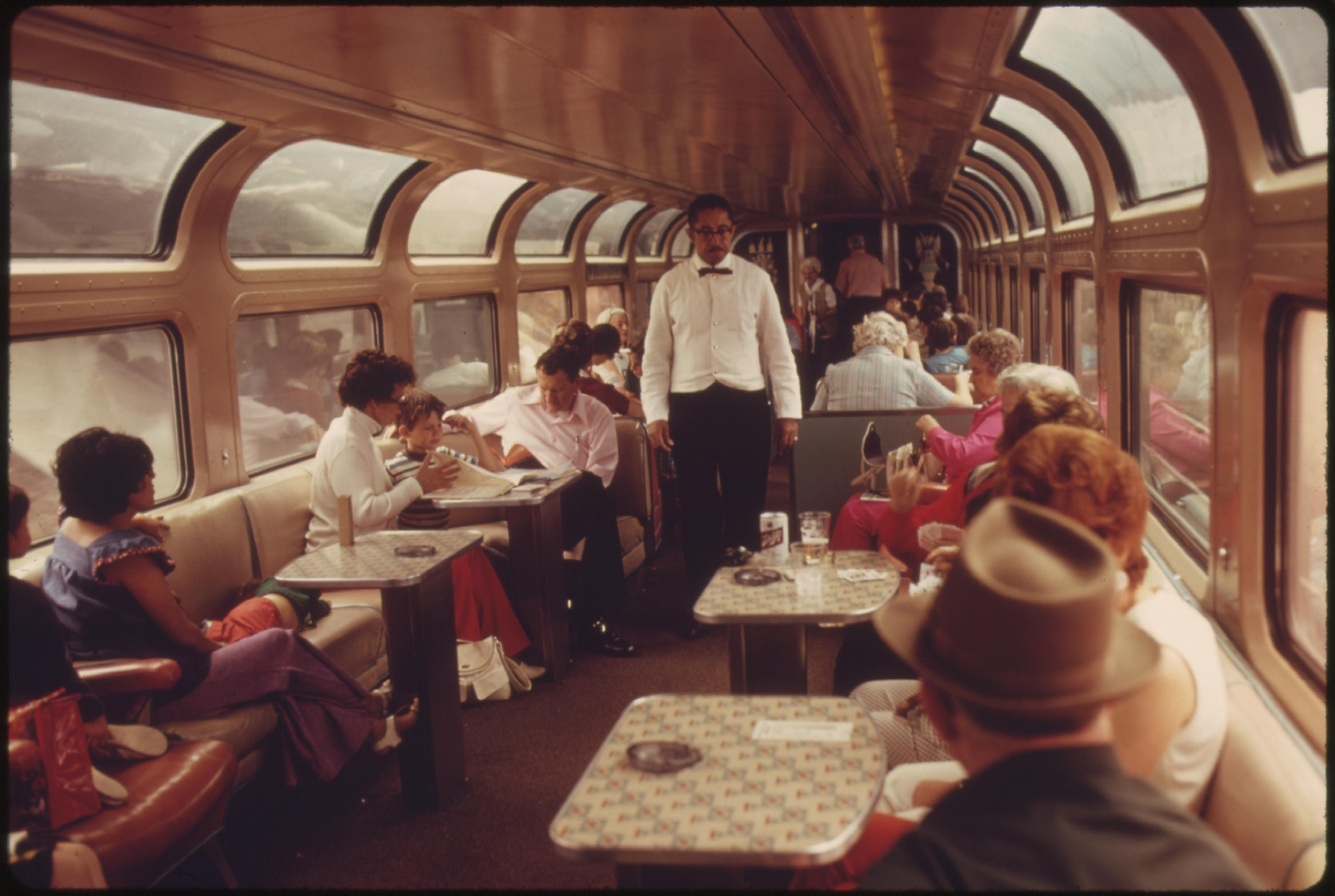 Lounge car of the Southwest Limited, an Amtrak train between Los Angeles, California, and Chicago, June 1974