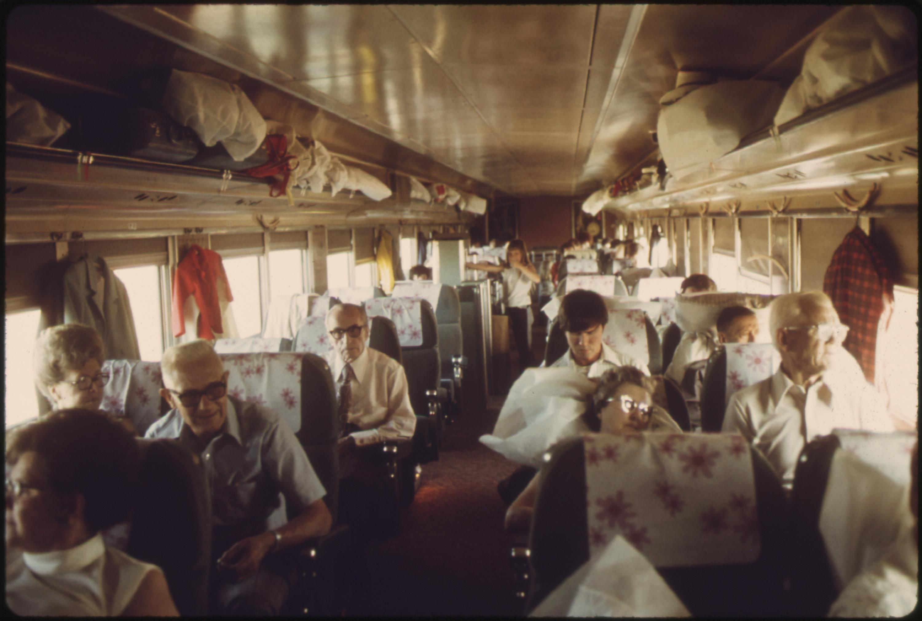 Passenger chair car on the Southwest Limited, an Amtrak train enroute from Los Angeles, California, through Albuquerque New Mexico, to Chicago, June 1974