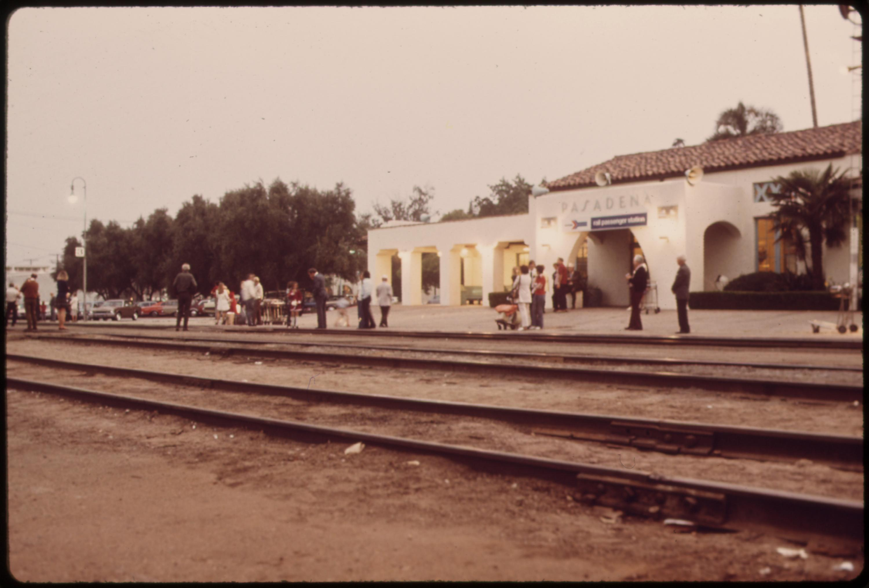 Passengers at the Pasadena, California, train station waiting for the Southwest Limited, formerly called the super chief, headed to Chicago, June 1974
