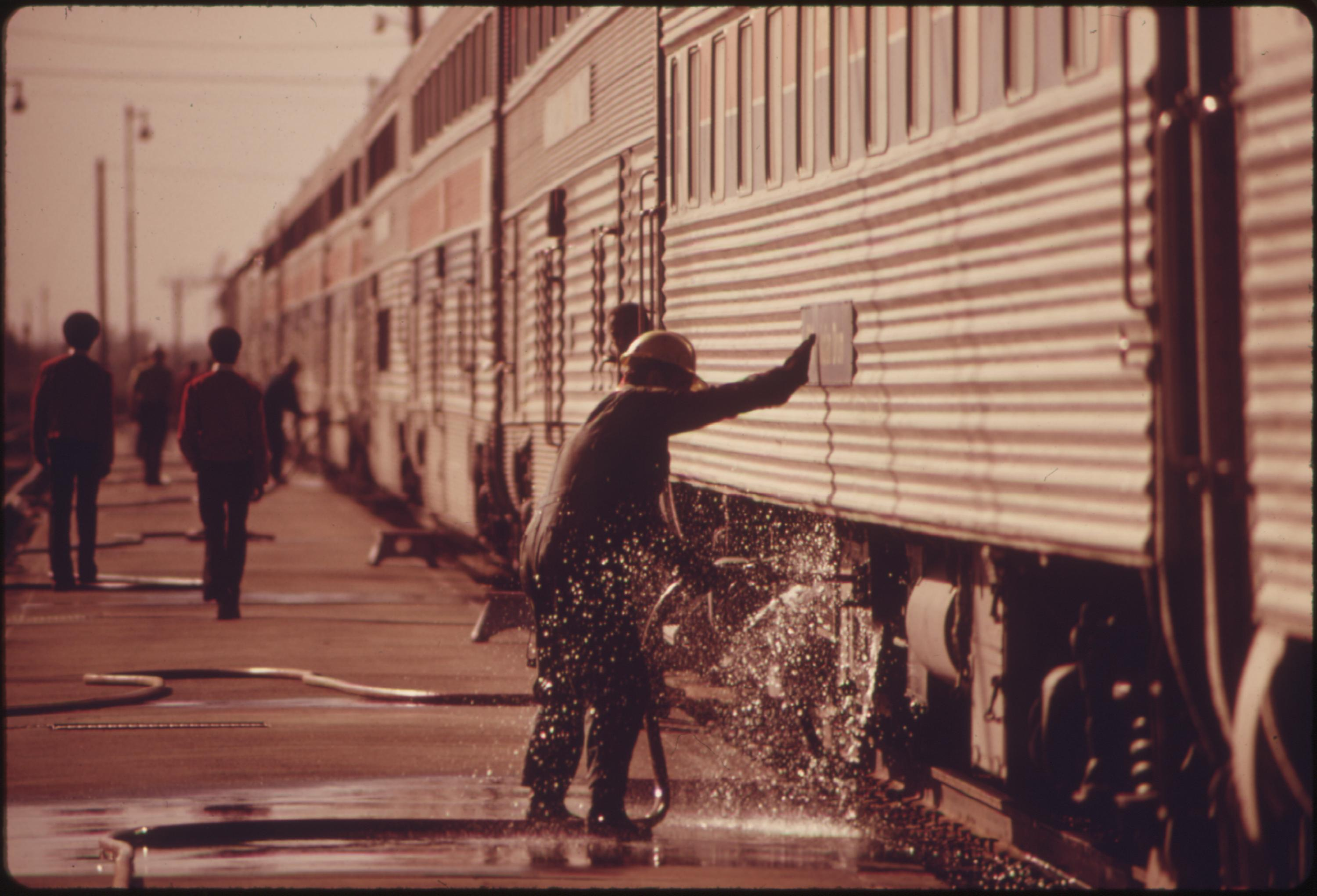 The Southwest Limited, an overnight train from Los Angeles California to Albuquerque, New Mexico makes an early morning stop at Winslow, Arizona for a change of engineer, conductors and brakemen, June 1974