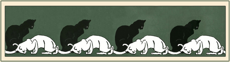 """Steinlen """"Cat and fishbowl"""" (detail) 1897, from """"Cats: Pictures without Words"""""""