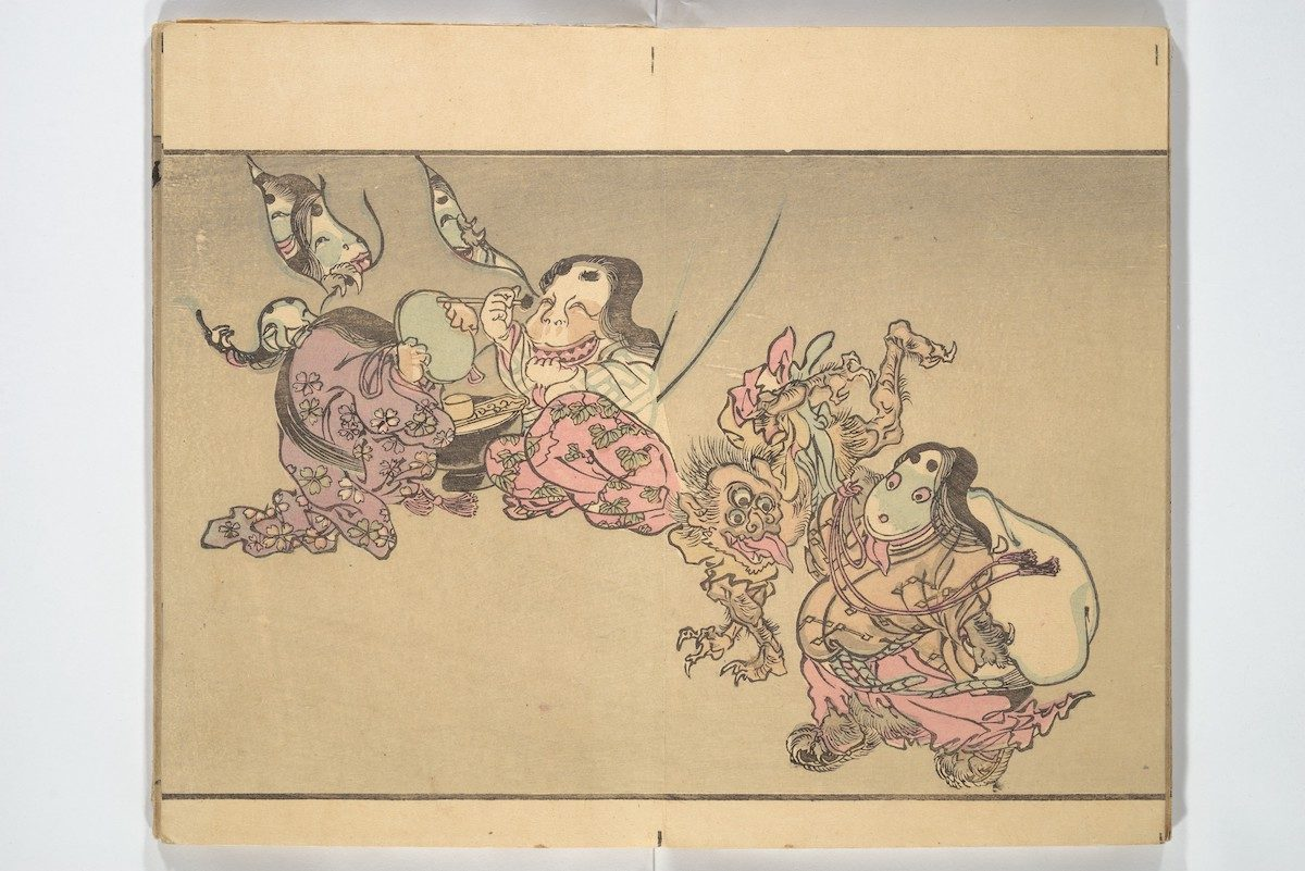 At left, a monster holds up a mirror for an Otafuku-esque ghoul to apply black dye to her teeth. At right, a chubby faced figure carries a bag beside a three-eyed ghoul.