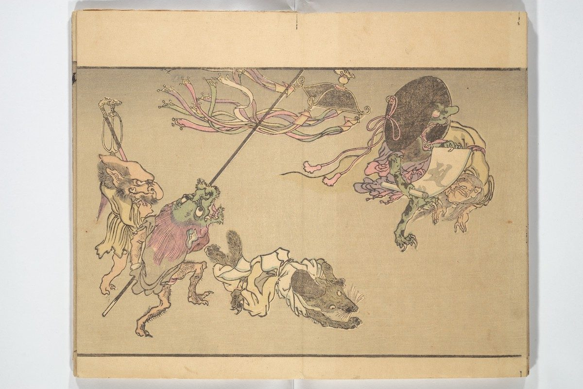 Monsters, including a badger wearing a courtier's cap, carry Buddhist ritual implements, such as a magical scroll inscribed in Sanskrit, at far right.