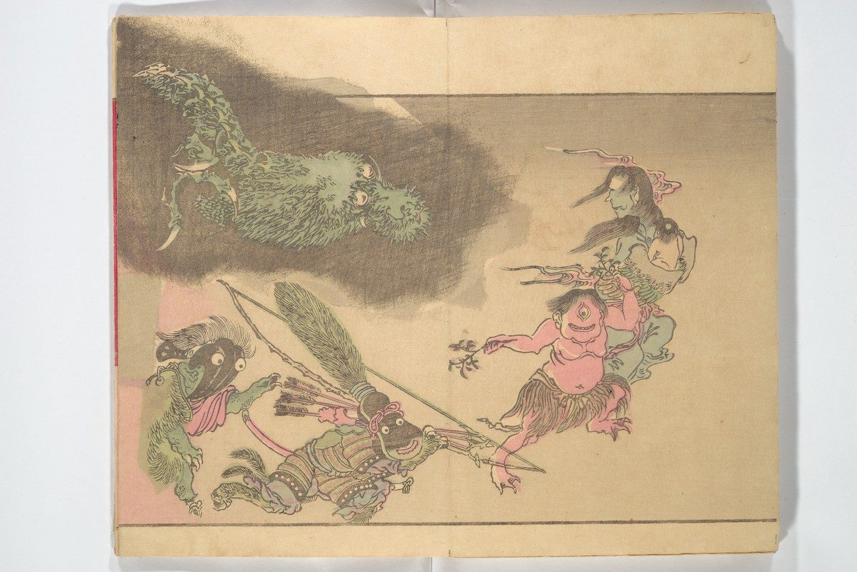 A green dragon chases demons, including a winged hag, at right, who is embracing a tiny creature. Below, a pink one-eyed monster wears a grass skirt.